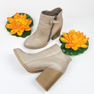 Tan booties square heel size 7